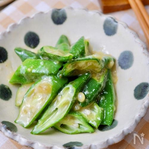 簡単副菜♡『おくらの甘味噌酢和え』