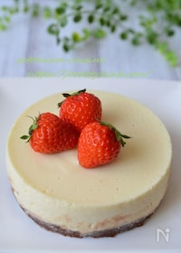 『生クリームもゼラチンも砂糖も不要!混ぜるだけのチーズケーキ☆』