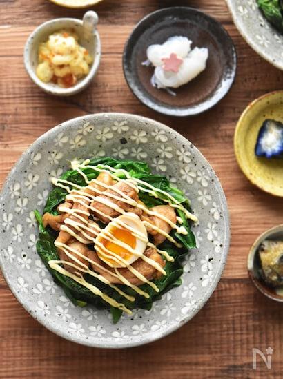 鶏肉とほうれん草、ゆで卵ものせ、マヨネーズをお好み焼きのようにかけてある彩りよい丼