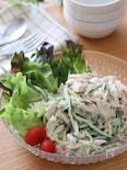 箸が止まらない♡カニカマときゅうりとささみのサラダ