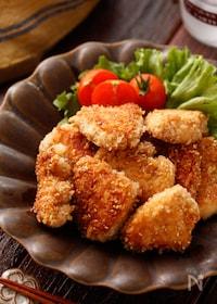 『むね肉のガーリック醤油パン粉焼き(チキンカツ風)』