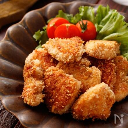 むね肉のガーリック醤油パン粉焼き(チキンカツ風)