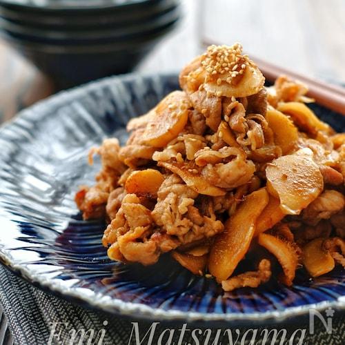 *新生姜と豚こまのウスター炒め*