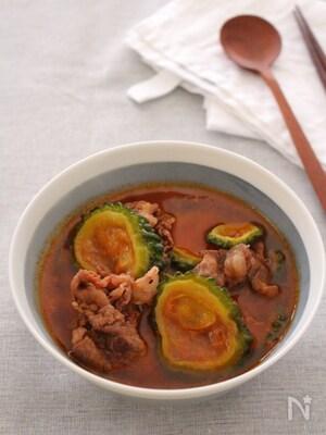 干しゴーヤと牛肉のチゲスープ。