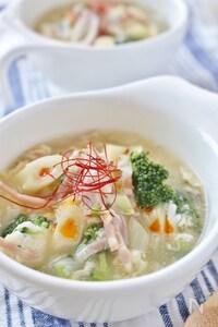 ブロッコリーと長ネギの中華スープ