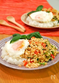 『ガパオライス。バジルとひき肉を炒めた本格タイ料理!』
