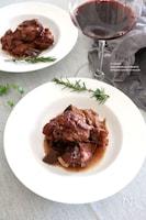 鶏肉と椎茸のワインみそ煮込み