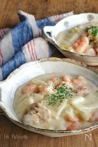 むき海老と鶏肉と白菜の簡単クリーム煮