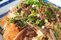 【切り餅でもち米不要】牛肉とごぼうの韓国風モチモチおこわ