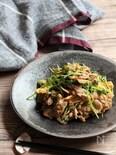 豆苗と豚肉の柚子胡椒炒め