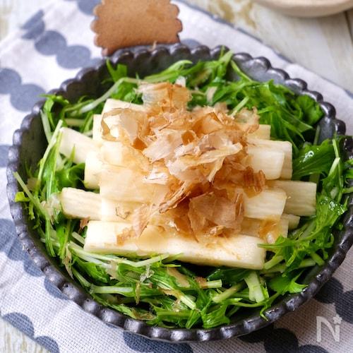 3分でさっぱり美味しい♡『長芋と水菜のだし醤油サラダ』