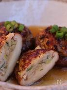 鶏ひき肉のしいたけ詰め、ゆず胡椒風味のあんかけ
