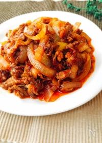 『節約☆豚こま肉と玉ねぎのケチャップ炒め』