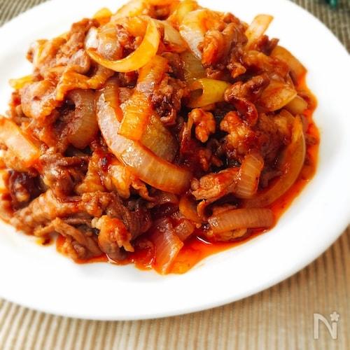 節約☆豚こま肉と玉ねぎのケチャップ炒め