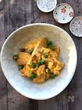 竹の子とグリンピースのふんわり卵とじ 味噌風味