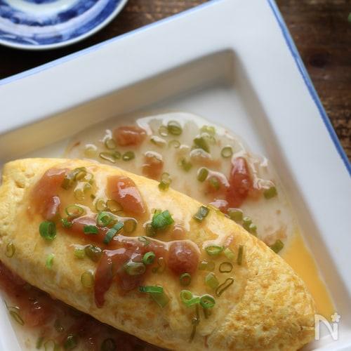 梅あんかけの豆腐入り和風オムレツ(丼)ラップで簡単に♪