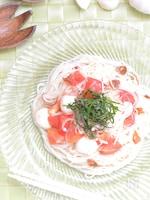 トマトとみょうがの和カプレーゼ素麺
