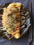 豚キムチーズのお好み焼き風オムレツ。