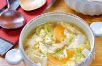 たっぷり食べれる!『白菜と人参のピリ辛たまごスープ』