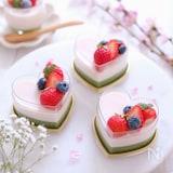 生クリーム不使用♡簡単!苺と抹茶の二色プリン
