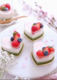 『生クリーム不使用♡簡単!苺と抹茶の二色プリン』