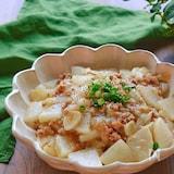 ひき肉と大根と玉ねぎとにんにくの旨とろ味噌煮