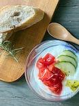 きゅうりとトマトのヨーグルト ヘルシー朝ごはん