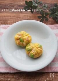 『レンジで!時短お弁当おかず。ハムと枝豆の茶きん卵』