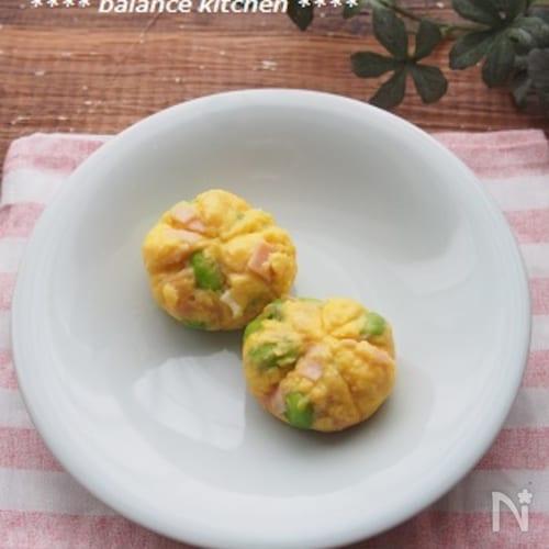 レンジで!時短お弁当おかず。ハムと枝豆の茶きん卵