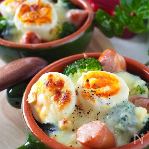 ホワイトソース不要*粉末スープde卵とウインナーのグラタン