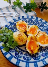 『子供ウケもよいおつまみ卵♡半熟卵のカレーマヨ焼き』