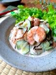 簡単‼︎ぷりぷり海老とシャキシャキ新玉&胡瓜のコク旨サラダ