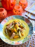 絶品♡かぼちゃとしめじとベーコンのごちそうスープ