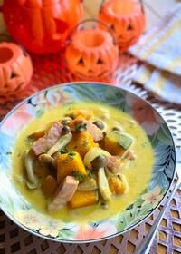 『絶品♡かぼちゃとしめじとベーコンのごちそうスープ』