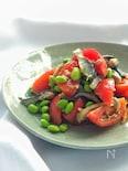 *トマトとシメサバと枝豆のサラダ*