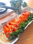 お刺身の種類は何でも♡サーモンと新玉ねぎの和風カルパッチョ
