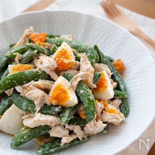 『スナップエンドウと茹で鶏の和風ごまマヨサラダ』#簡単