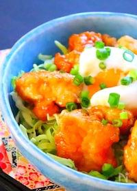 『鶏むね肉のオイマヨ和え丼の作り方』