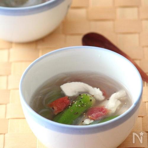 つるるんささみとオクラの冷製梅スープ