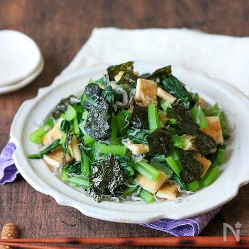 小松菜とじゃこ、チーズ入りお揚げのパリパリ味付けのり和え