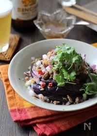 『茄子とひき肉のタイ風サラダ』