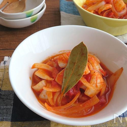おうちで簡単イタリアン♪いかとたまねぎのトマト煮込み