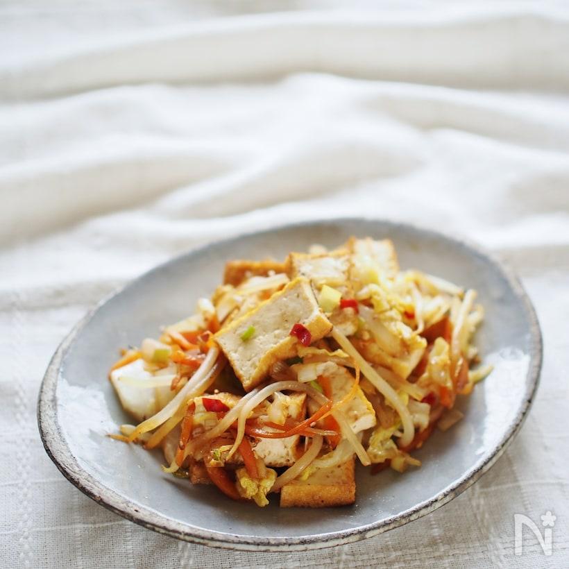 白菜と人参と厚揚げのネギダレ炒め