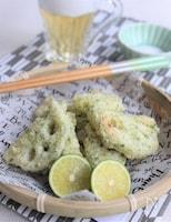 れんこんの天ぷら、青のり風味