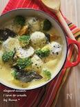 秋の根野菜&鶏胡麻団子の豆乳シチュー