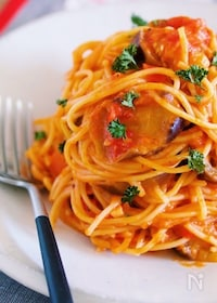 『なすとツナのトマトチーズパスタ【#麺の別茹で不要】』