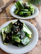 生の小松菜とわかめの和え物