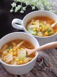 身体ポカポカ♡春キャベツとお揚げとコーンのピり辛味噌スープ