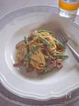 干し椎茸とベーコンの豆乳クリームスパゲティー