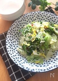 『和風でさっぱり美味しい♡白菜としらすのペペロン炒め』